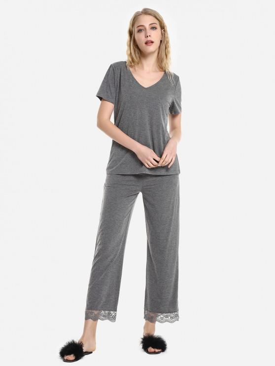 outfits V Neck Sleepwear Short Sleeve Pajama Set - HEATHER GRAY M