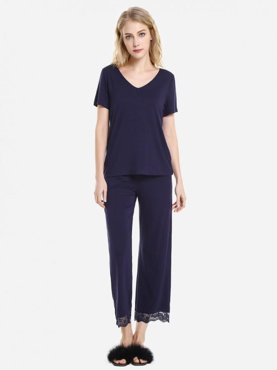 ZAN.STYLE col en V à manches courtes de nuit Pyjama - Bleu profond S