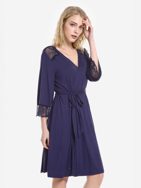 unique ZAN.STYLE Front Open Nightgown Belt Sleepwear - ROYAL M