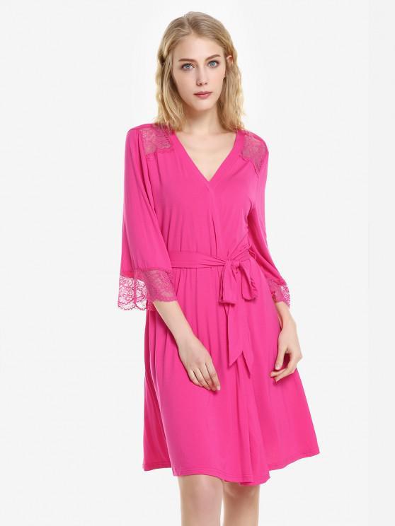 womens ZAN.STYLE Front Open Nightgown Belt Sleepwear - ROSE RED L