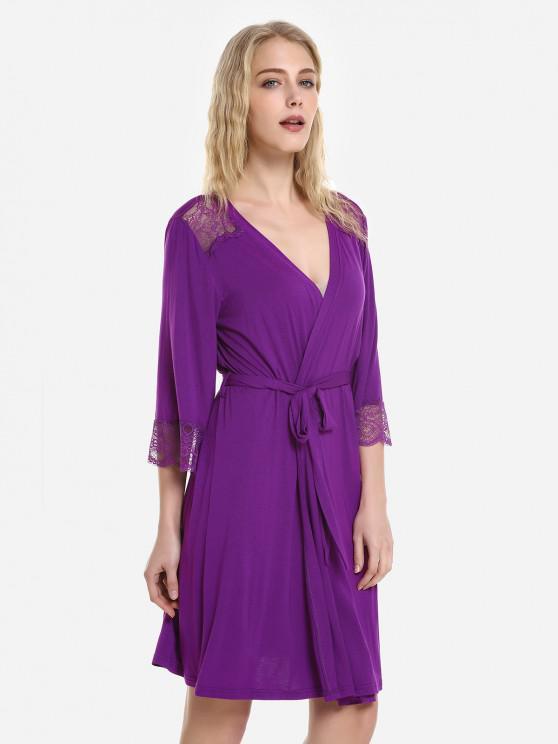 unique ZAN.STYLE Front Open Nightgown Belt Sleepwear - PURPLISH RED L