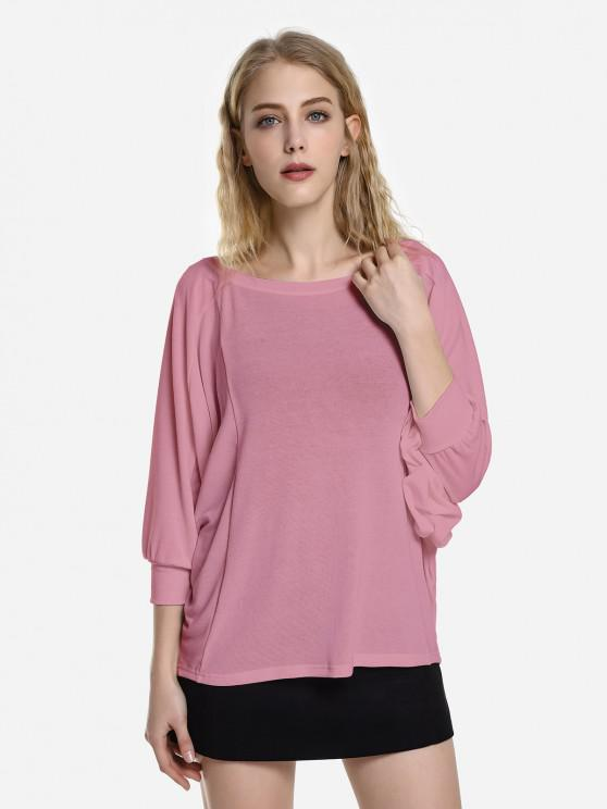 unique ZAN.STYLE Dolman Sleeve Top - PURPLISH RED M