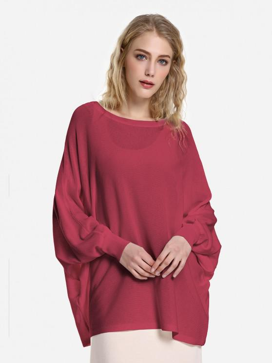 ZAN.STYLE Long Sleeve Round Neck Top - نبيذ أحمر L
