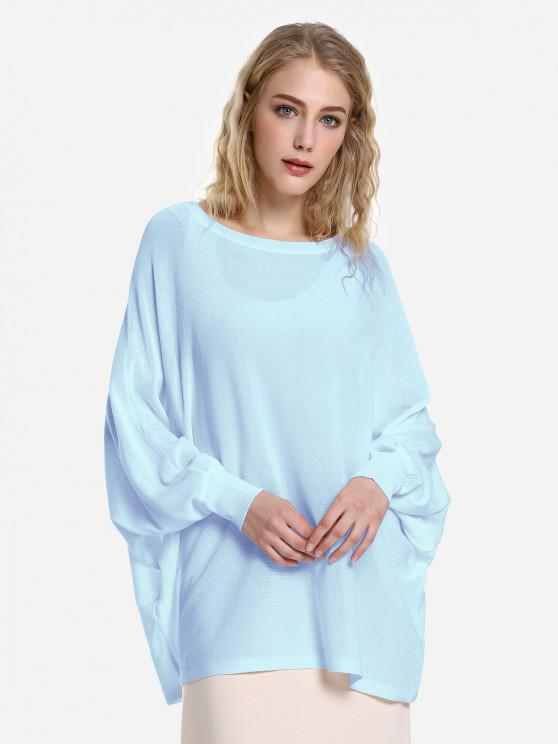 fancy ZAN.STYLE Long Sleeve Round Neck Top - LIGHT BLUE L