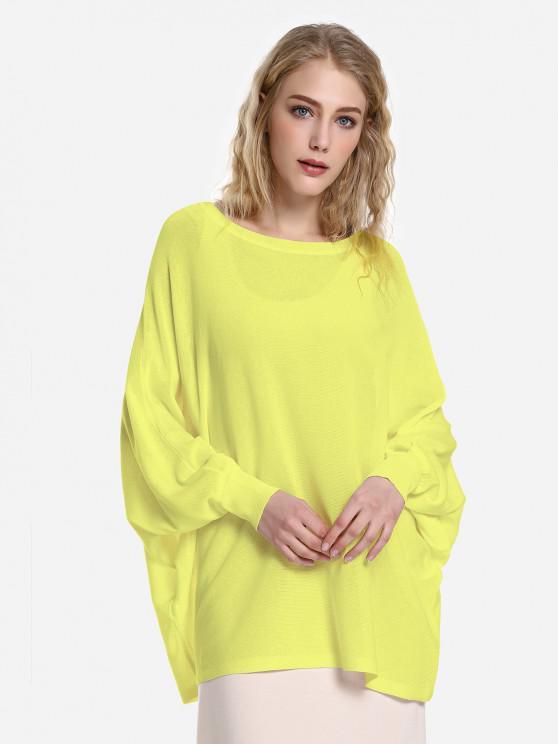 ZAN.STYLE Long Sleeve Round Neck Top - الأصفر M