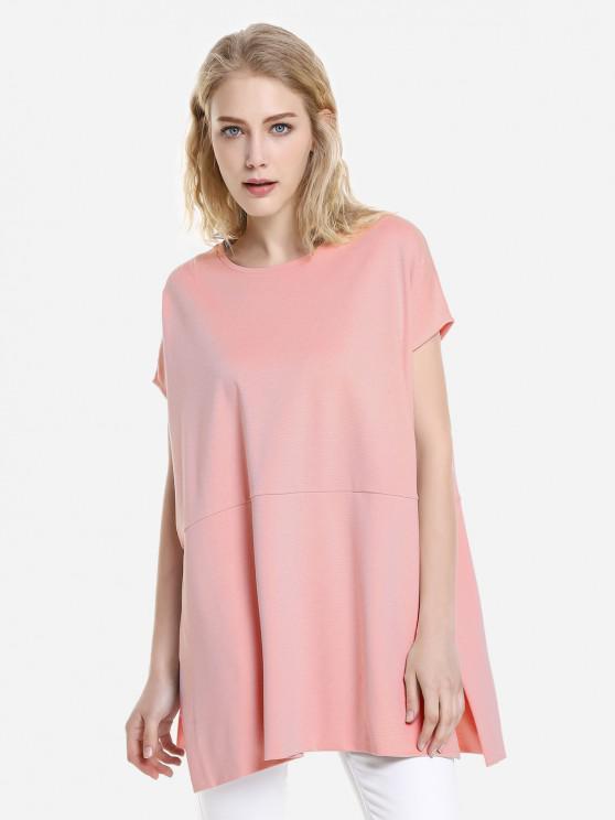 ZAN.STYLE V Ausschnitt Schulter Top - orange pink  M