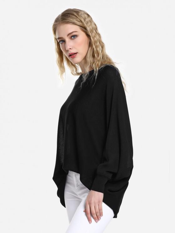 Long Sleeve Round Neck Top - أسود M