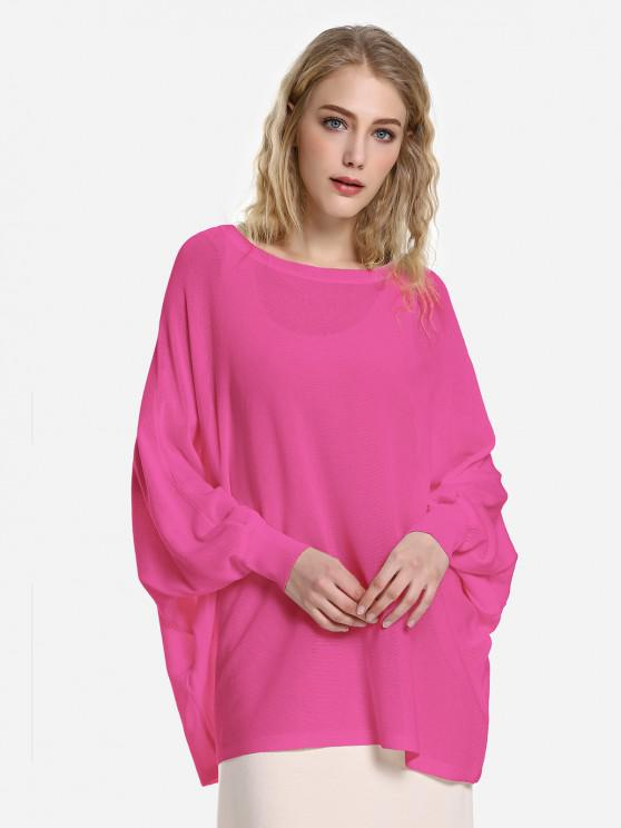 ladies ZAN.STYLE Long Sleeve Round Neck Top - ROSE RED M