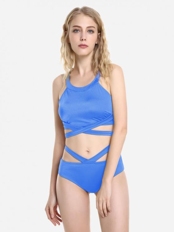 unique ZAN.STYLE Cross Wrap Halter Bikini Set - BLUE 2XL