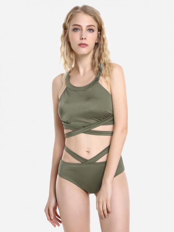 Ensemble de Bikini Croisé Enveloppéà Col Halter - Vert profond L