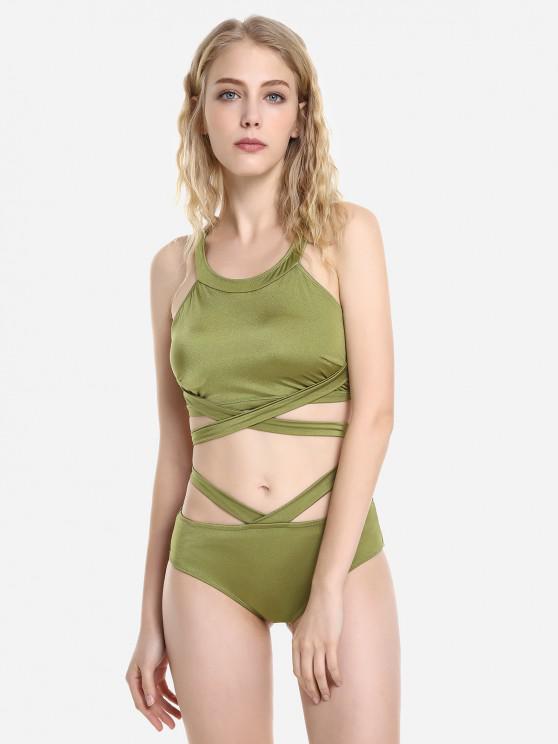 Ensemble de Bikini Croisé Enveloppéà Col Halter - Olive Verte XL