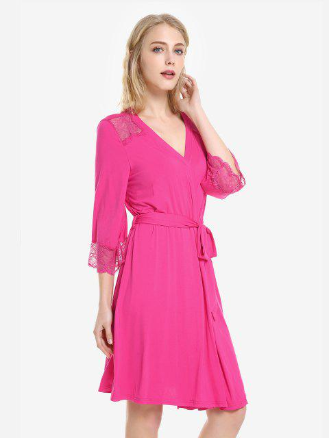 affordable ZAN.STYLE Front Open Nightgown Belt Sleepwear - ROSE RED S Mobile