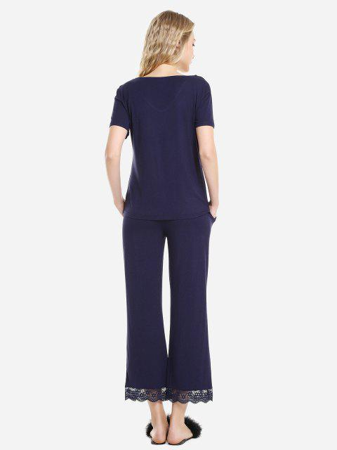 womens ZAN.STYLE V Neck Sleepwear Short Sleeve Pajama Set - DEEP BLUE M Mobile