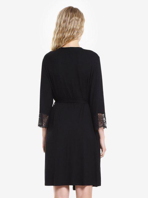 ZAN.STYLE Front Open Nightgown Belt Sleepwear - 黑色 L Mobile