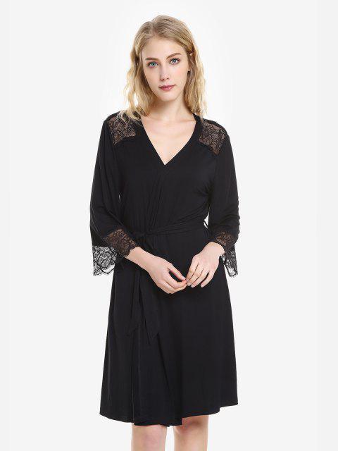 ZAN.STYLE Front Open Nightgown Belt Sleepwear - 黑色 XL Mobile