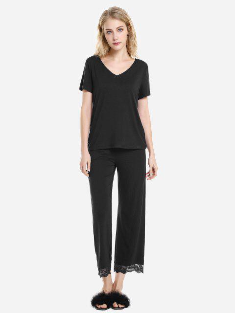 hot ZAN.STYLE V Neck Sleepwear Short Sleeve Pajama Set - BLACK L Mobile
