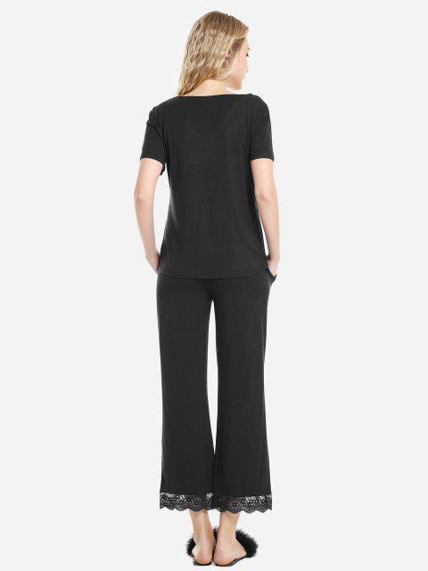 outfit ZAN.STYLE V Neck Sleepwear Short Sleeve Pajama Set - BLACK XL Mobile