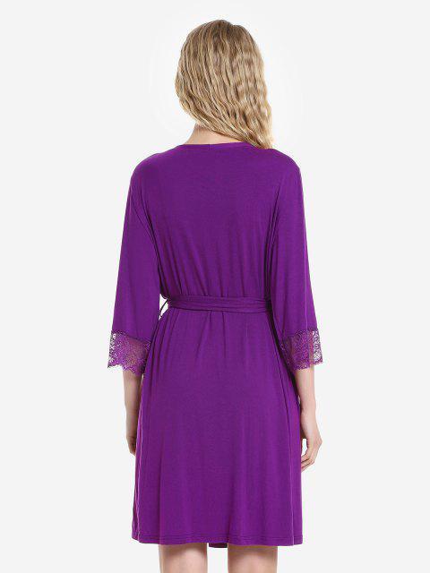 ZAN.STYLE Front Open Nightgown Belt Sleepwear - 紫紅色 M Mobile