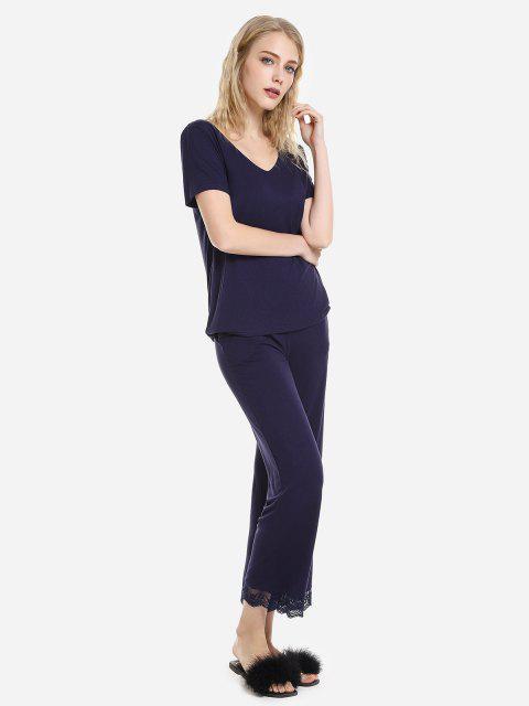 ZAN.STYLE V Neck Sleepwear Short Sleeve Pajama Set - 深藍 L Mobile