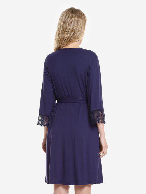 ZAN.STYLE Front Open Nightgown Belt Sleepwear - 王室的 M Mobile