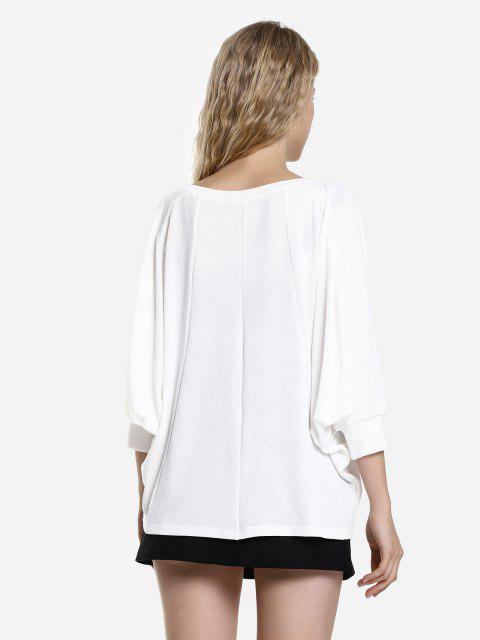 fashion ZAN.STYLE Dolman Sleeve Top - WHITE L Mobile