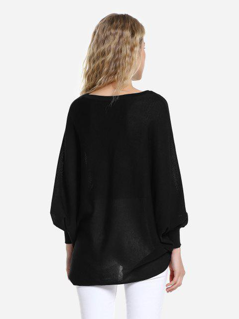 chic ZAN.STYLE Long Sleeve Round Neck Top - BLACK L Mobile