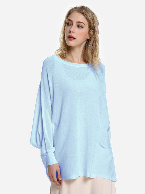 affordable ZAN.STYLE Long Sleeve Round Neck Top - LIGHT BLUE M Mobile