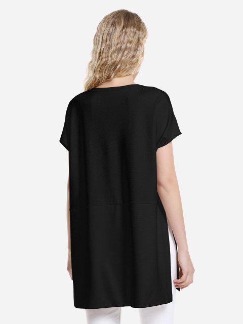 women ZAN.STYLE Drop Shoulder Sleeve Top - BLACK S Mobile