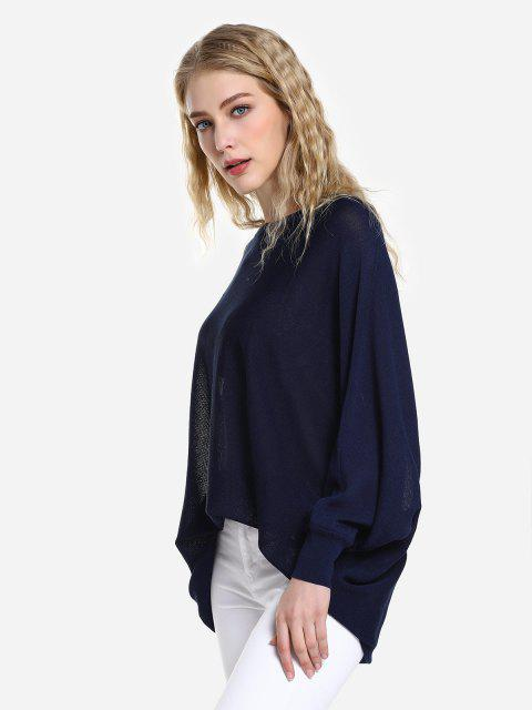 lady ZAN.STYLE Long Sleeve Round Neck Top - CADETBLUE M Mobile