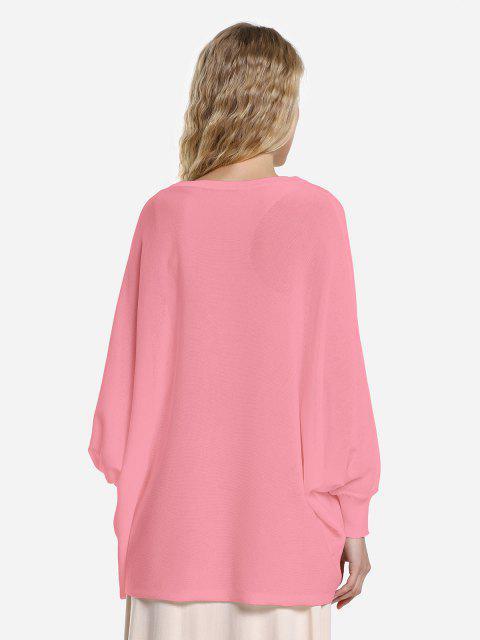 ZAN.STYLE Long Sleeve Round Neck Top - 珊瑚粉 M Mobile