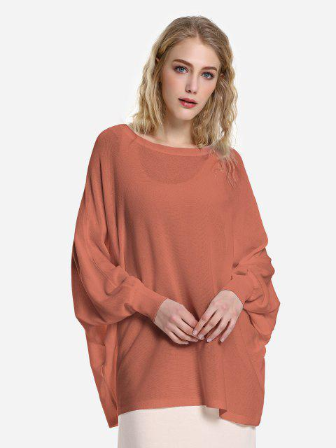 ZAN.STYLE Long Sleeve Round Neck Top - 磚紅色 M Mobile
