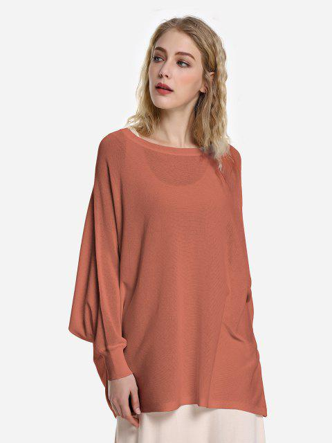 new ZAN.STYLE Long Sleeve Round Neck Top - BRICK-RED L Mobile