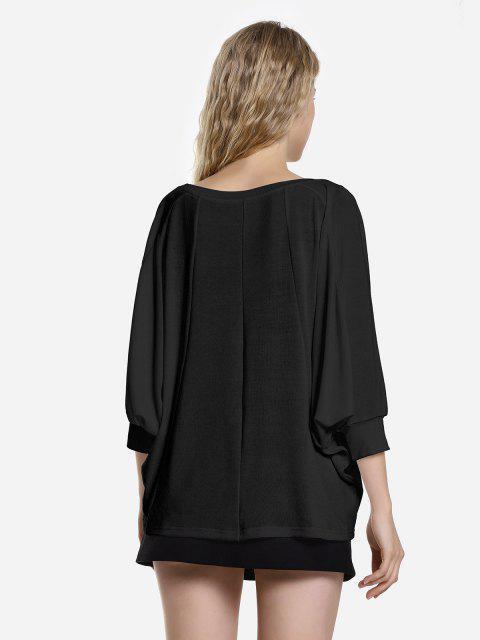 hot ZAN.STYLE Dolman Sleeve Top - BLACK L Mobile