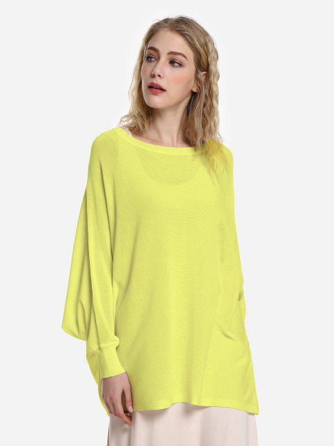 outfit ZAN.STYLE Long Sleeve Round Neck Top - YELLOW L Mobile
