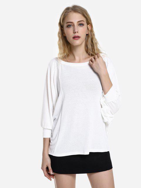shop ZAN.STYLE Dolman Sleeve Top - WHITE M Mobile