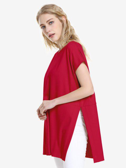 latest ZAN.STYLE Drop Shoulder Sleeve Top - RED M Mobile