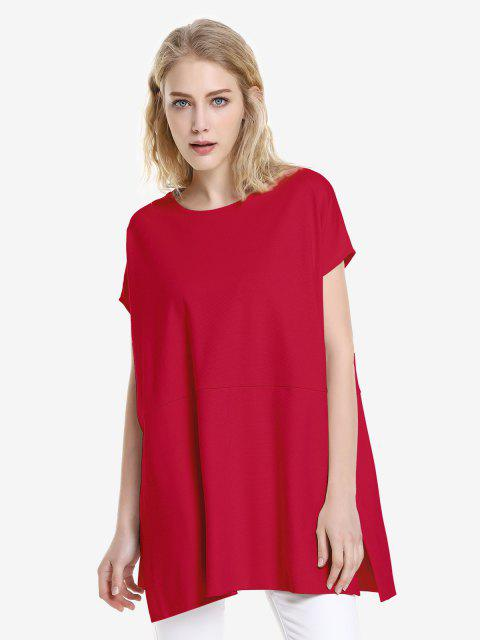 chic ZAN.STYLE Drop Shoulder Sleeve Top - RED L Mobile