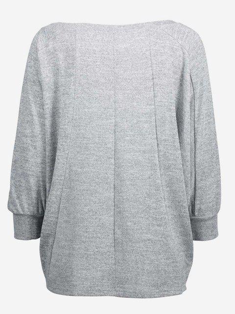 ZAN.STYLE Dolman Sleeve Top - 淺灰 M Mobile