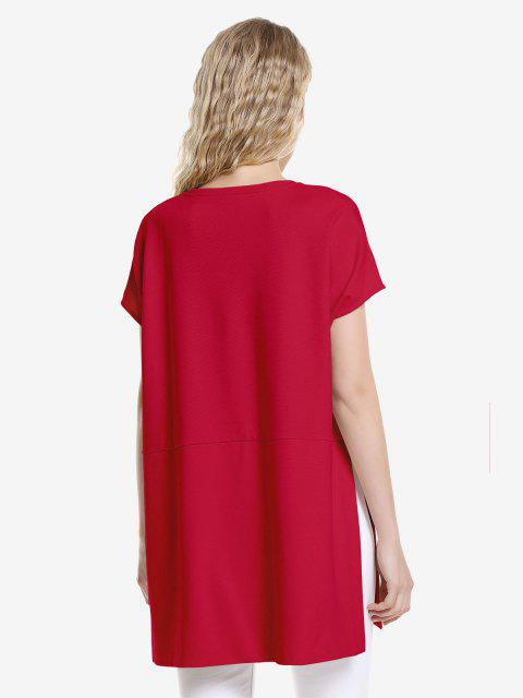 women's ZAN.STYLE Drop Shoulder Sleeve Top - RED XL Mobile