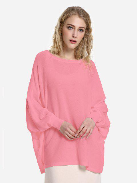 lady ZAN.STYLE Long Sleeve Round Neck Top - CORAL PINK L Mobile