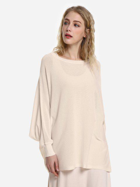 new ZAN.STYLE Long Sleeve Round Neck Top - APRICOT L Mobile