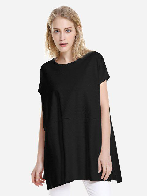 shop ZAN.STYLE Drop Shoulder Sleeve Top - BLACK M Mobile