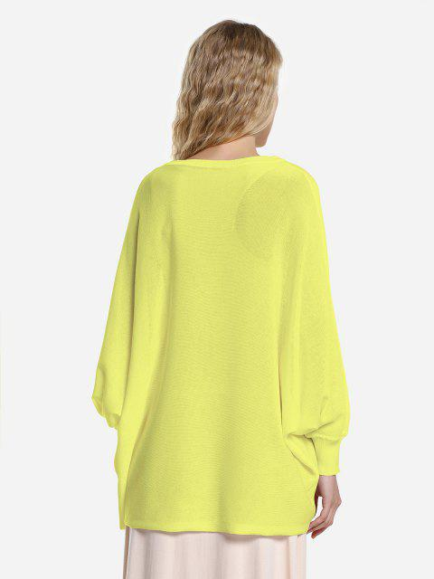trendy ZAN.STYLE Long Sleeve Round Neck Top - YELLOW M Mobile
