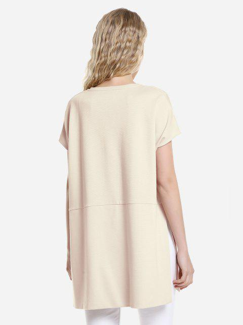 fancy ZAN.STYLE Drop Shoulder Sleeve Top - APRICOT XL Mobile