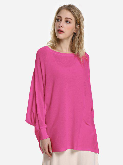 ladies ZAN.STYLE Long Sleeve Round Neck Top - ROSE RED M Mobile