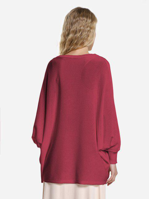 ZAN.STYLE Long Sleeve Round Neck Top - 酒紅色 M Mobile