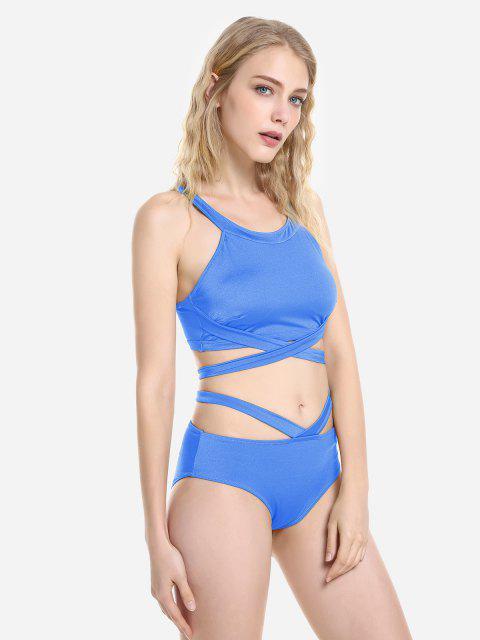 unique ZAN.STYLE Cross Wrap Halter Bikini Set - BLUE 2XL Mobile