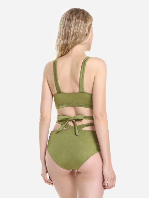 ZAN.STYLE Cross Wrap Halter Bikini Set - оливково-зеленый M Mobile