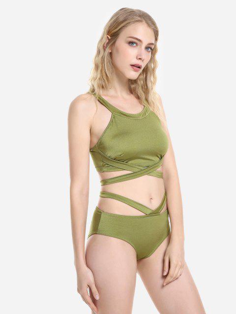 ZAN.STYLE Cross Wrap Halter Bikini Set - 橄欖綠 L Mobile
