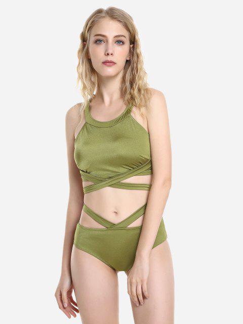 shop ZAN.STYLE Cross Wrap Halter Bikini Set - OLIVE GREEN L Mobile